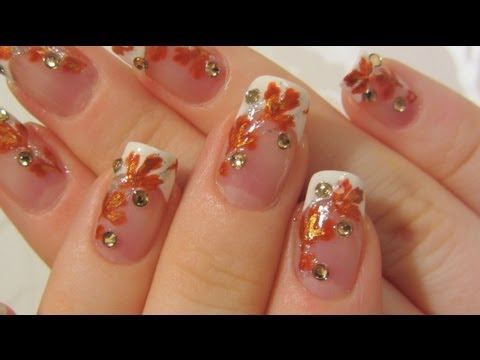 Autumn Bridal Design with Bronze/Burnt Orange and Gold Leaves & Rhinestones Nail Art Tutorial