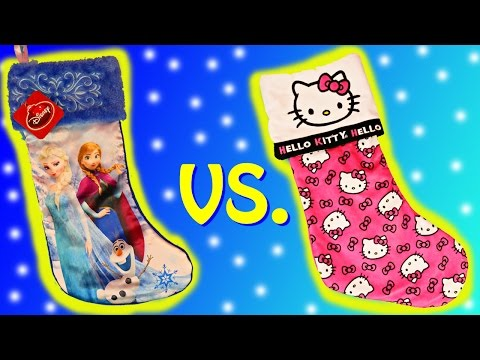 Christmas STOCKING Surprise Toys with Disney FROZEN Elsa Anna and HELLO KITTY Kinder Surprise Eggs
